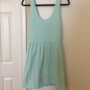 Light blue knit dress with buttons on back